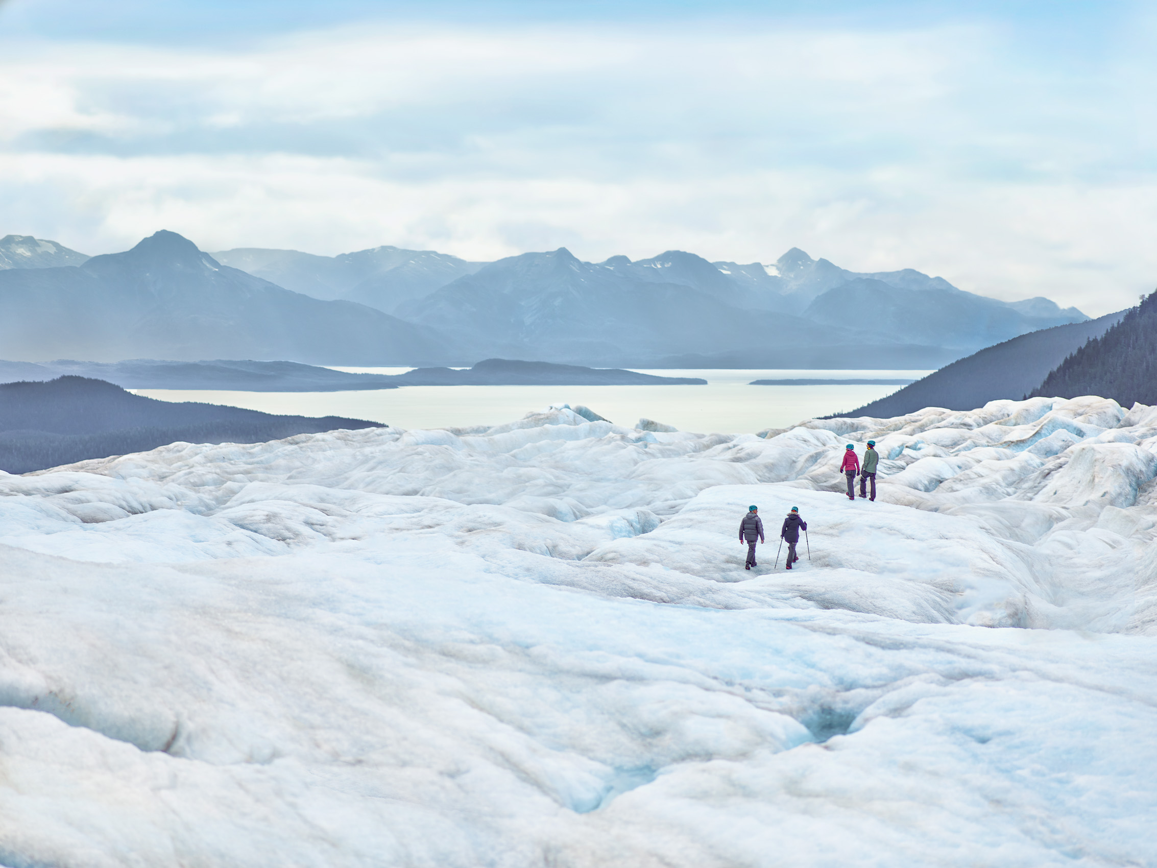 Kevin Steele - couples hike on a huge glacier in Alaska