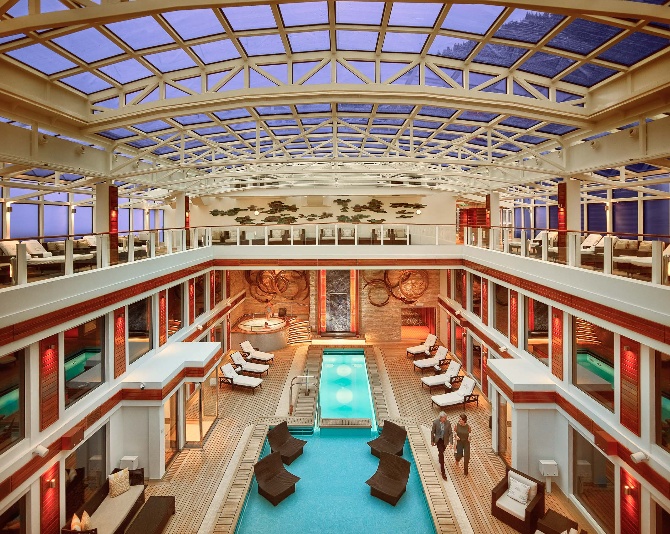 Kevin Steele - the expansive interior atrium spa in a cruise ship