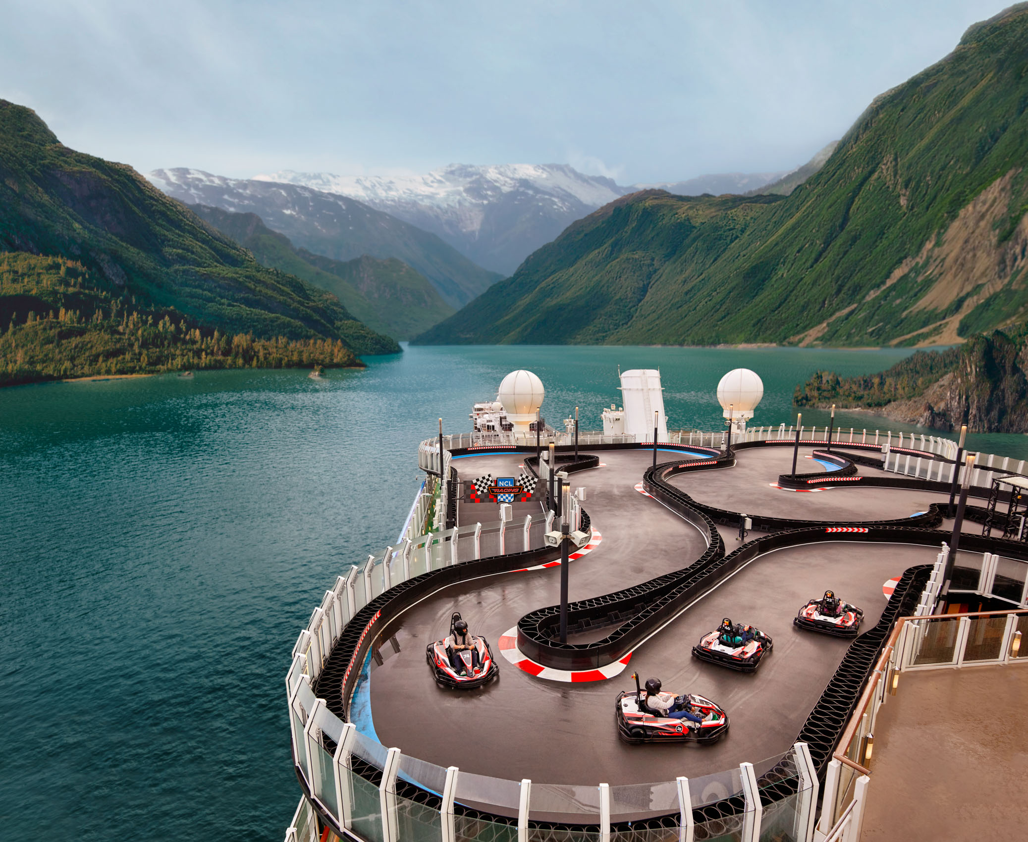 Kevin Steele - a go kart racetrack on the upper deck of a cruise ship