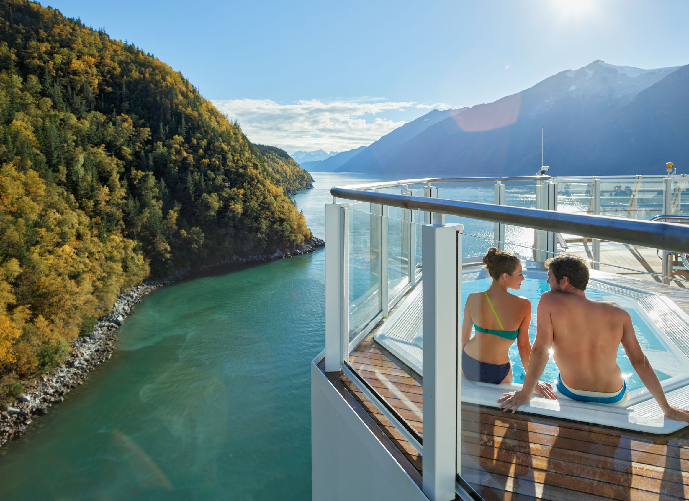 Kevin Steele - a couple enjoy the hot tub on a cruise ship