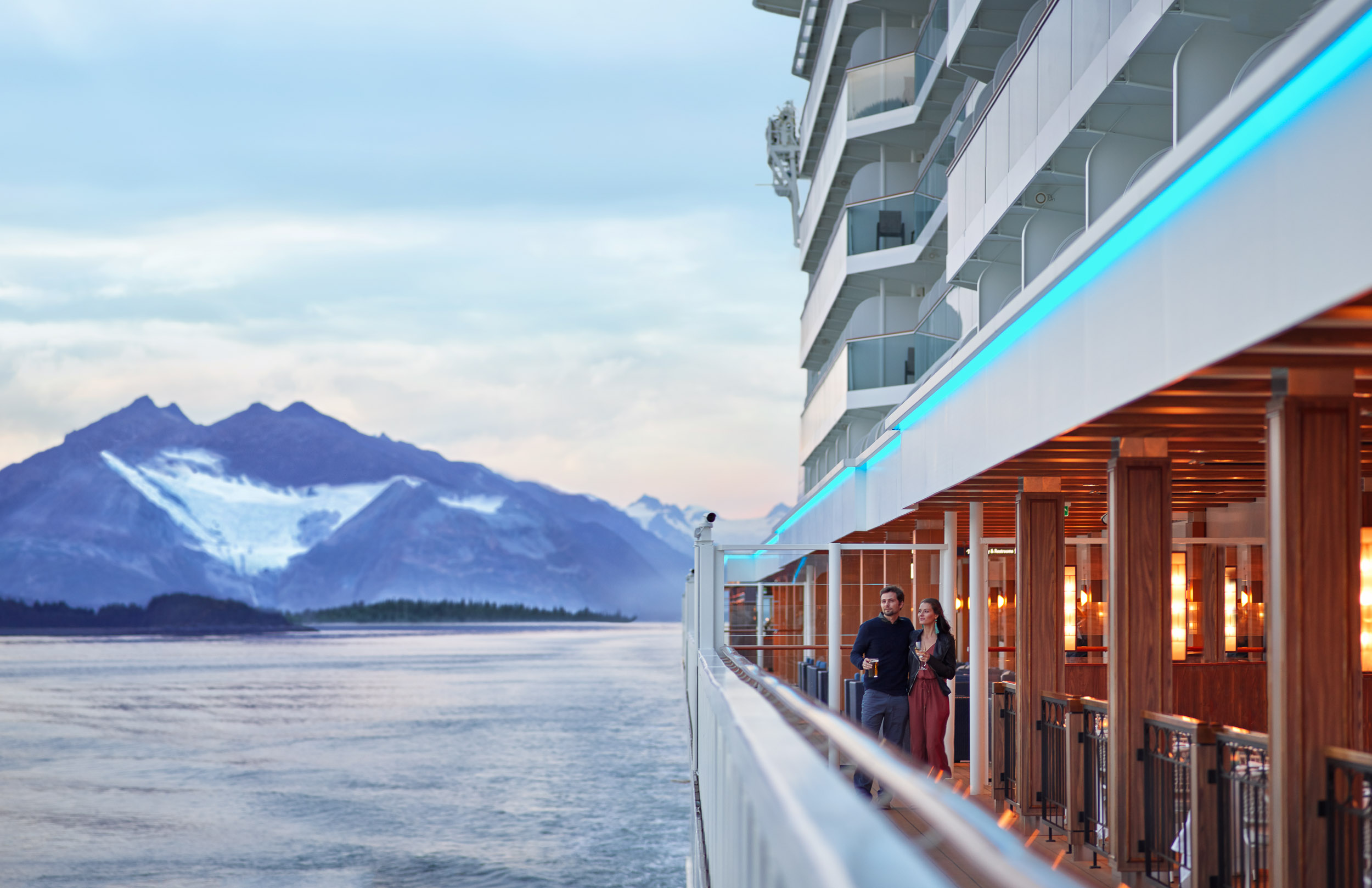 Kevin Steele - a couple on the deck of a cruise ship in Alaska