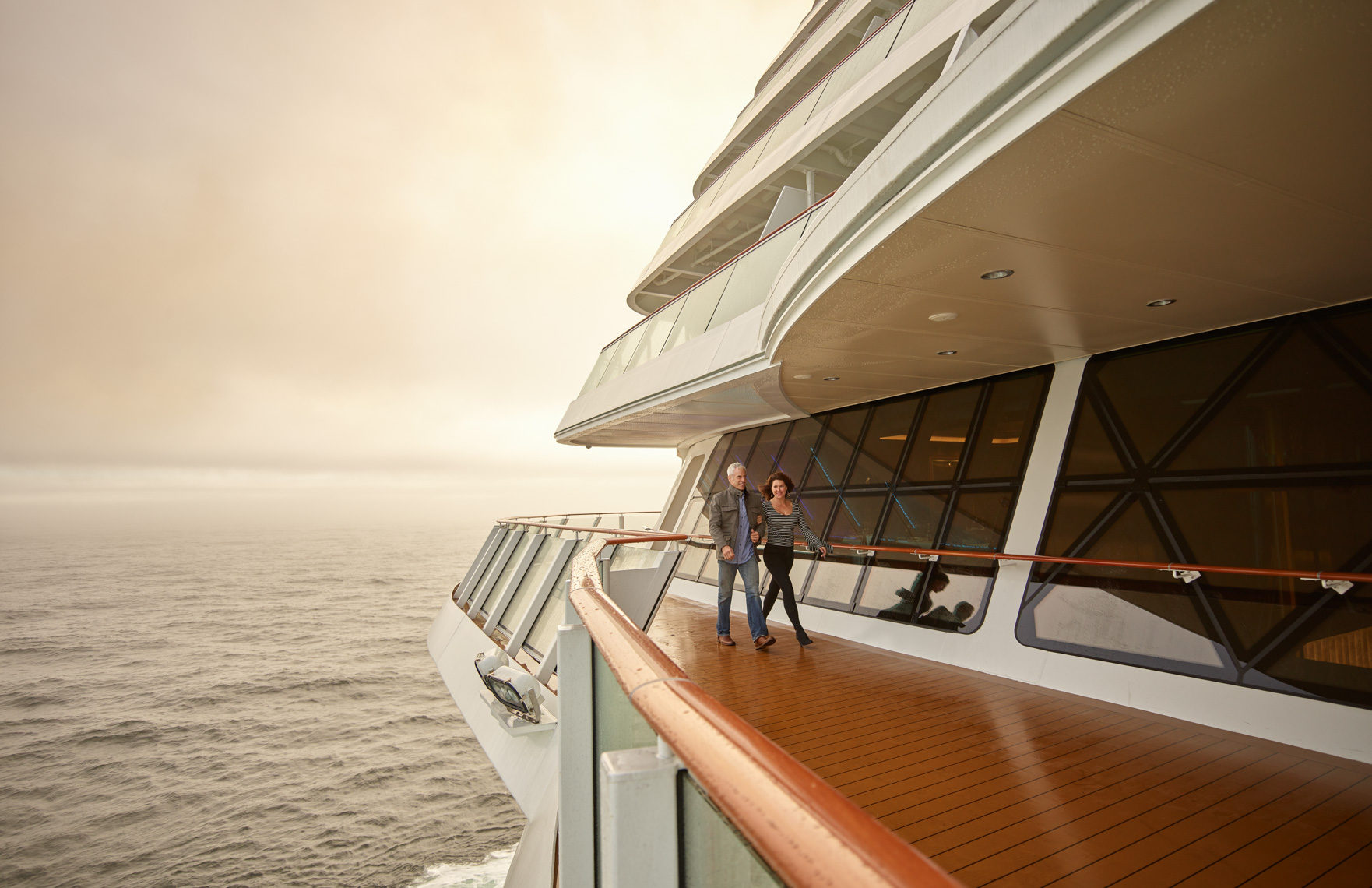 Kevin Steele -  walking along the deck of a cruise ship in morning fog