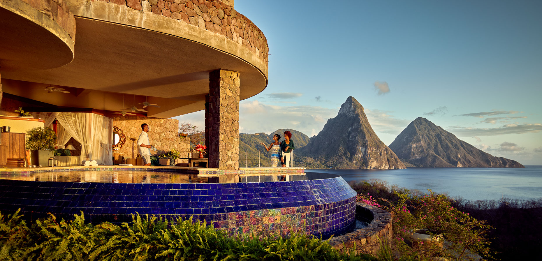 Kevin Steele - Relaxing at sunset at beautiful Jade Mountain Resort