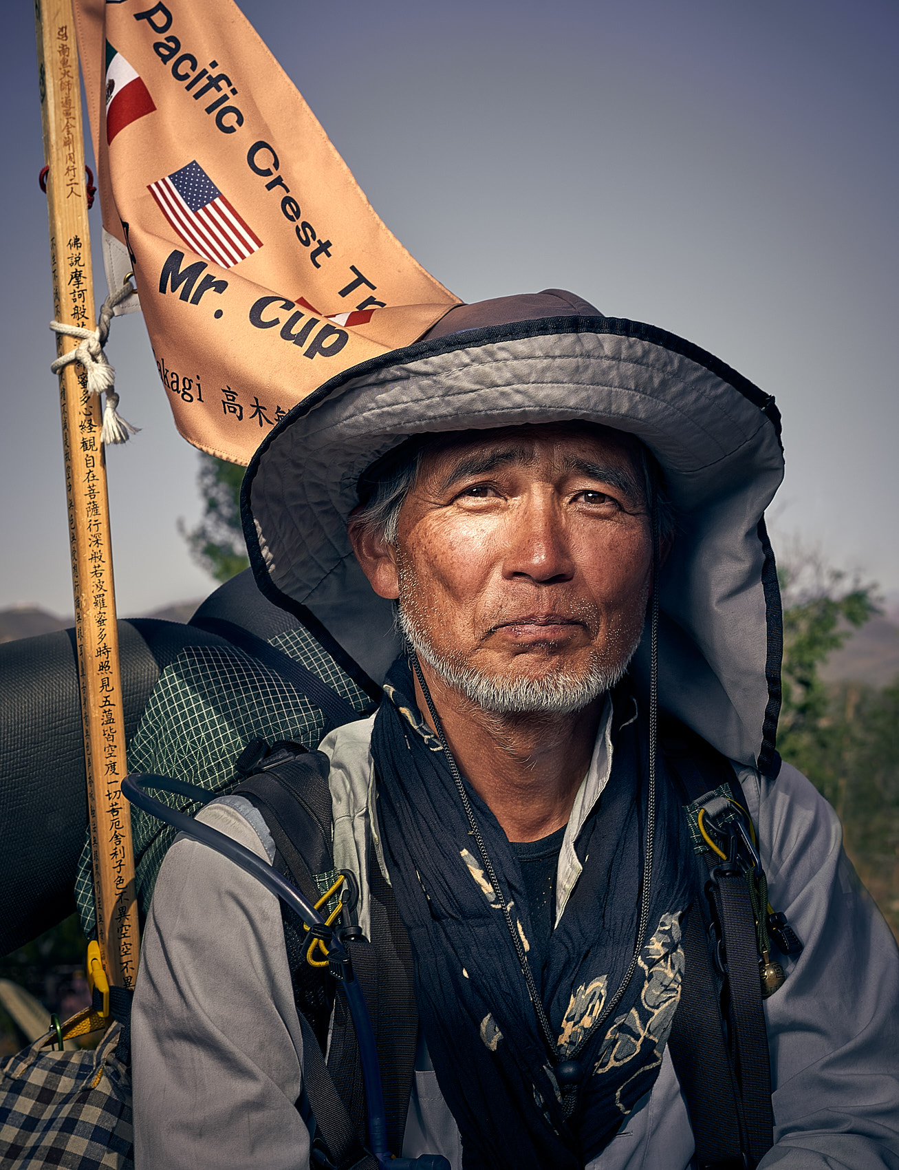 Kevin Steele - portrait of a hiker looking toward camera