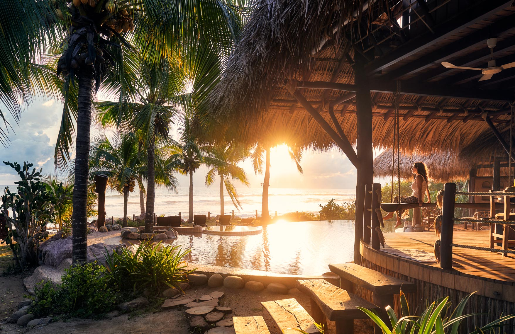 beach front cabana at a luxury eco-resort in Mexico