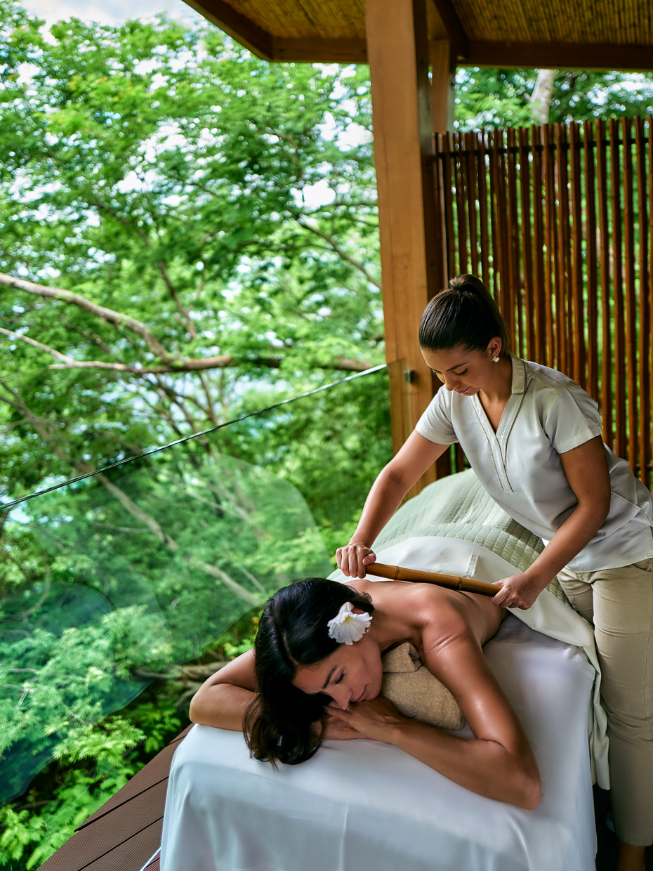 Kevin Steele - receiving a massage in the jungle treetop spa