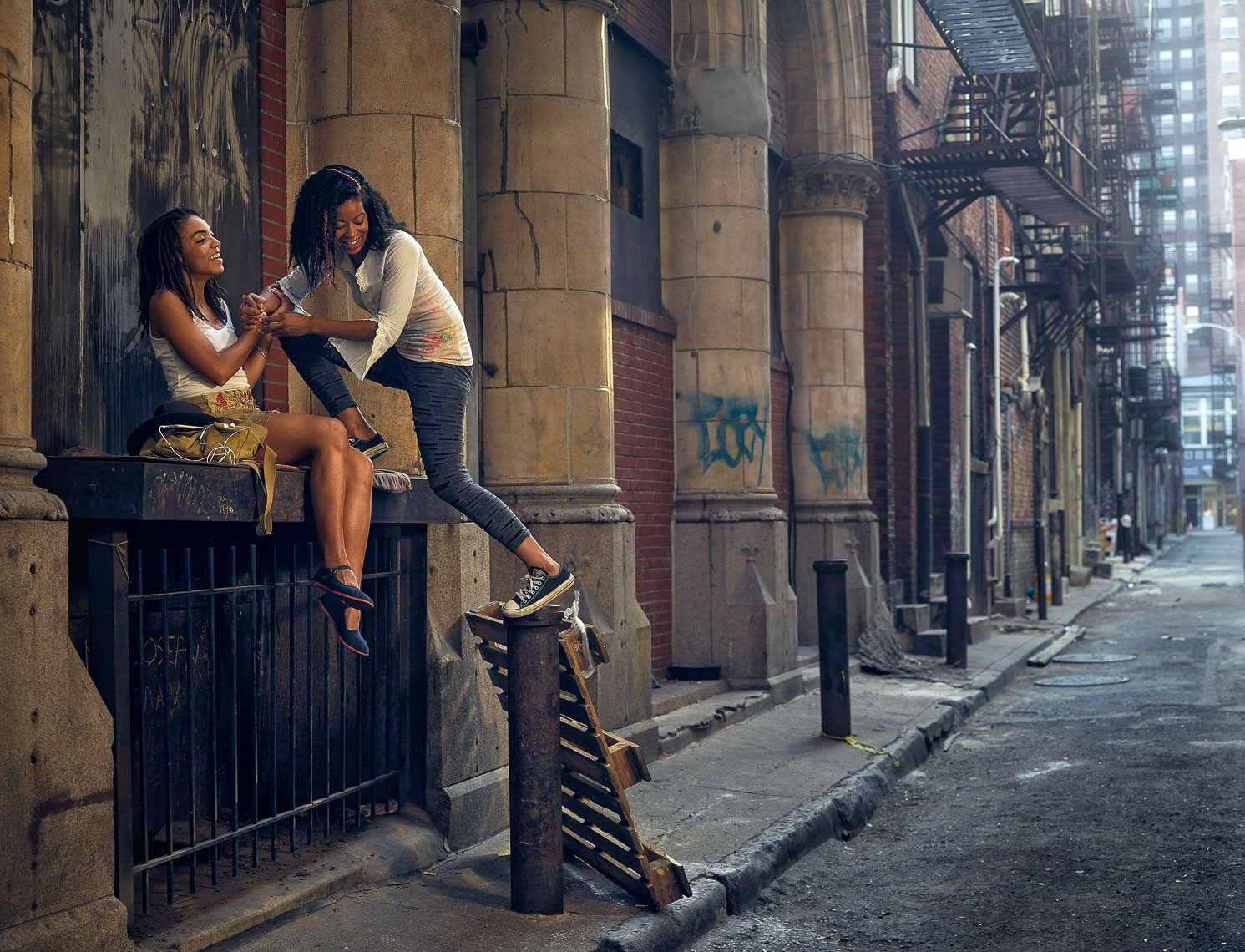 Kevin Steele - urban alley and two girls in Philadelphia