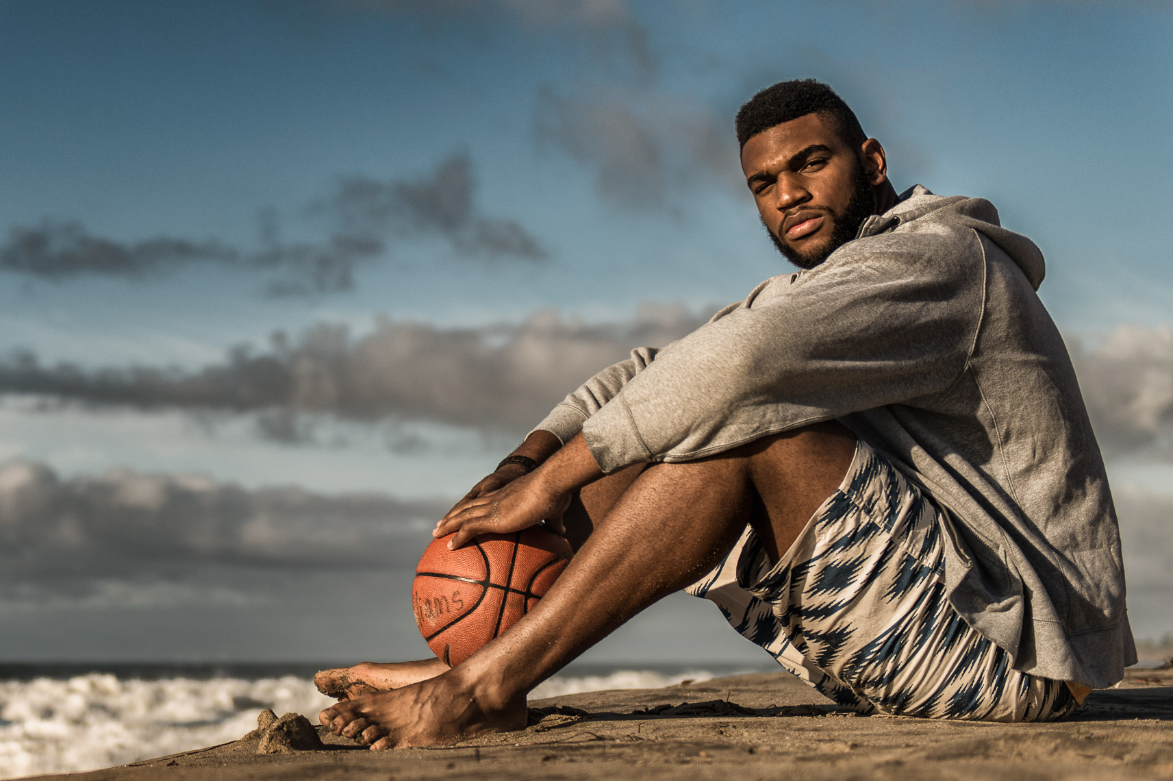 Kevin Steele  - portrait of an NBA basketball pro on the beach