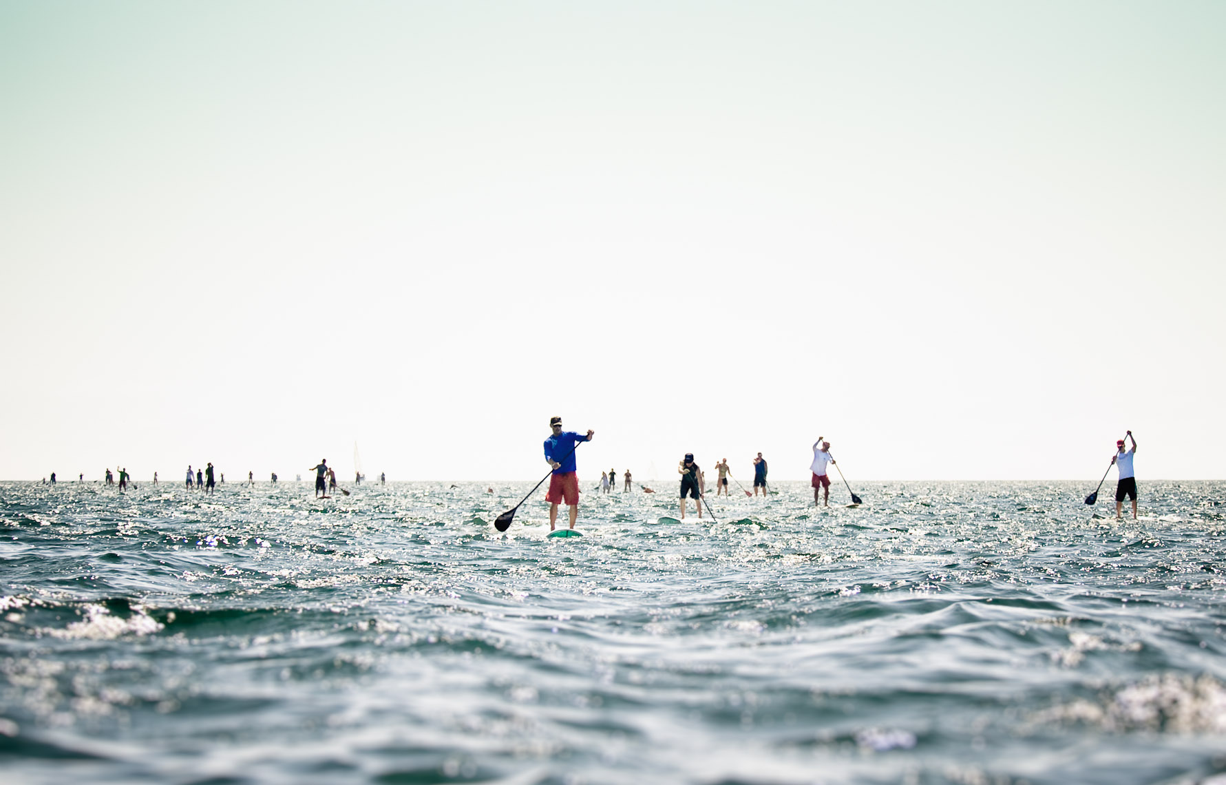 Kevin Steele - group of stand up paddleboarders in the ocean